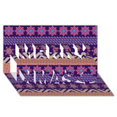 Colorful Winter Pattern Merry Xmas 3D Greeting Card (8x4)