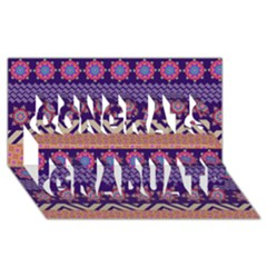 Colorful Winter Pattern Congrats Graduate 3d Greeting Card (8x4)