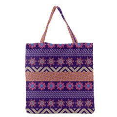 Colorful Winter Pattern Grocery Tote Bag