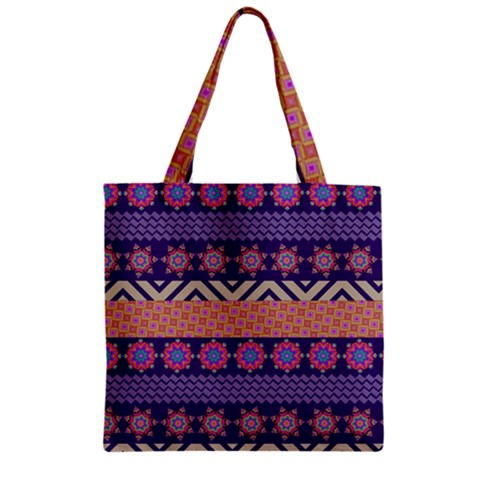 Colorful Winter Pattern Zipper Grocery Tote Bag