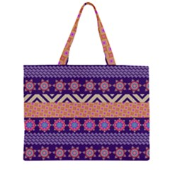 Colorful Winter Pattern Large Tote Bag