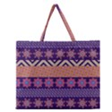Colorful Winter Pattern Zipper Large Tote Bag View1
