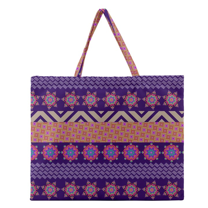 Colorful Winter Pattern Zipper Large Tote Bag