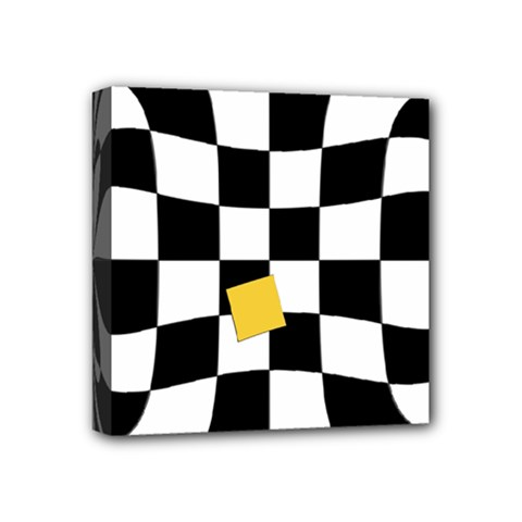 Dropout Yellow Black And White Distorted Check Mini Canvas 4  X 4