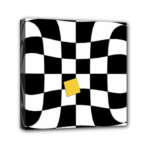 Dropout Yellow Black And White Distorted Check Mini Canvas 6  X 6