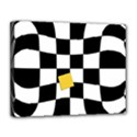 Dropout Yellow Black And White Distorted Check Canvas 14  x 11  View1