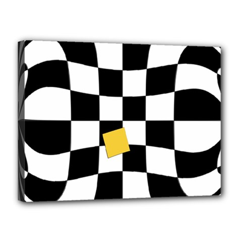 Dropout Yellow Black And White Distorted Check Canvas 16  x 12