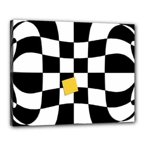 Dropout Yellow Black And White Distorted Check Canvas 20  x 16