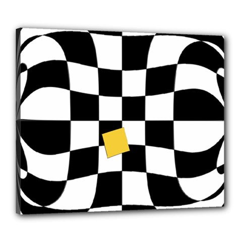 Dropout Yellow Black And White Distorted Check Canvas 24  x 20
