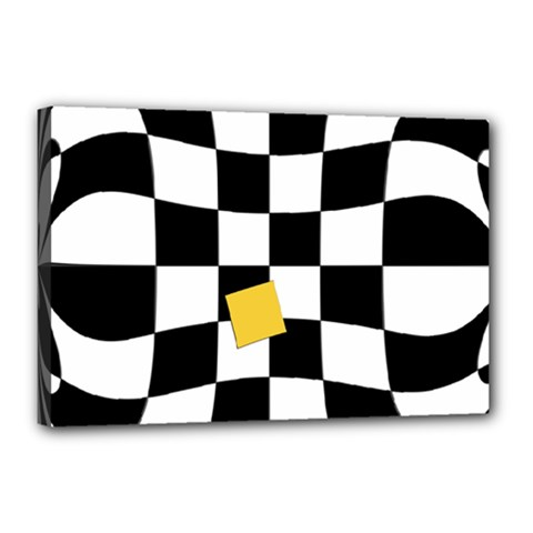 Dropout Yellow Black And White Distorted Check Canvas 18  X 12