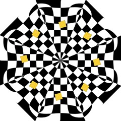 Dropout Yellow Black And White Distorted Check Folding Umbrellas