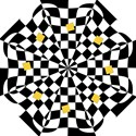 Dropout Yellow Black And White Distorted Check Folding Umbrellas View1