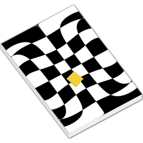Dropout Yellow Black And White Distorted Check Large Memo Pads
