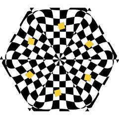 Dropout Yellow Black And White Distorted Check Mini Folding Umbrellas