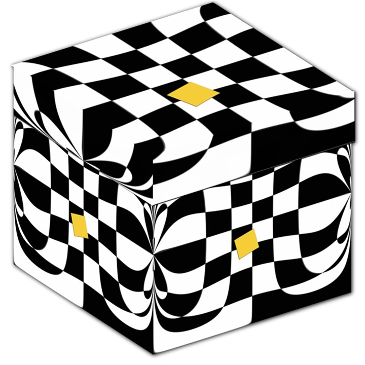 Dropout Yellow Black And White Distorted Check Storage Stool 12