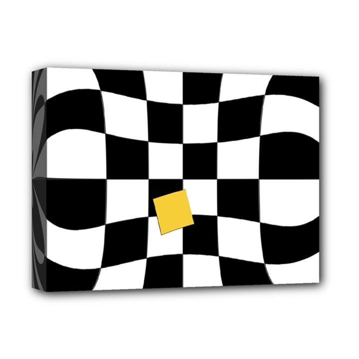 Dropout Yellow Black And White Distorted Check Deluxe Canvas 16  x 12