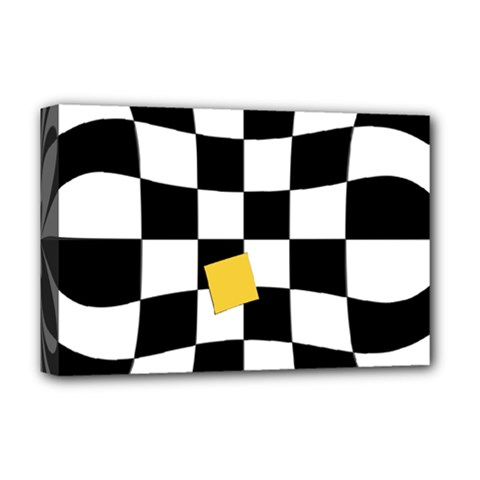 Dropout Yellow Black And White Distorted Check Deluxe Canvas 18  x 12