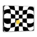 Dropout Yellow Black And White Distorted Check Deluxe Canvas 20  x 16   View1