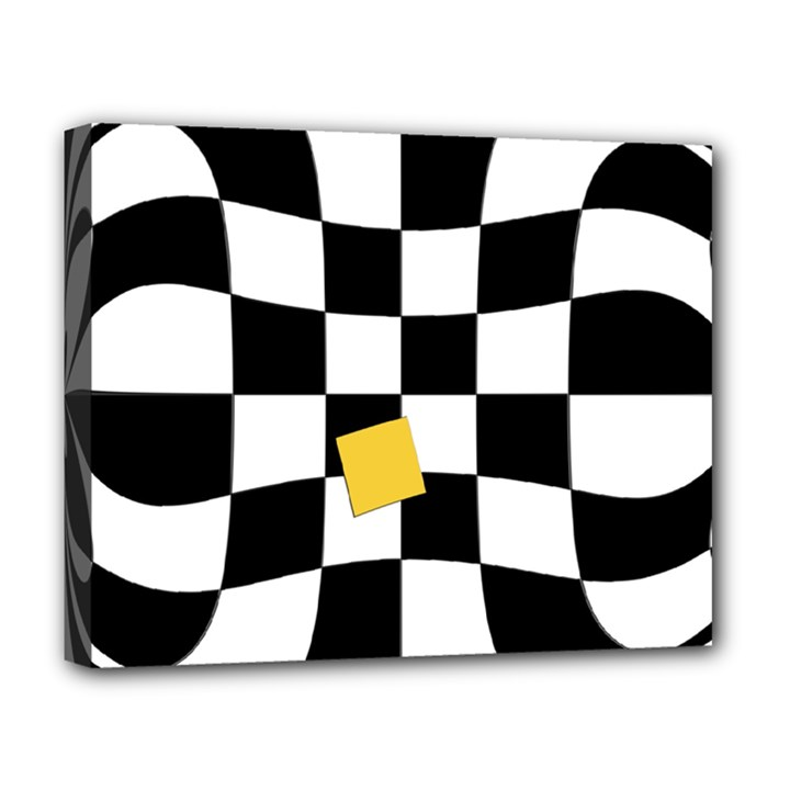 Dropout Yellow Black And White Distorted Check Deluxe Canvas 20  x 16