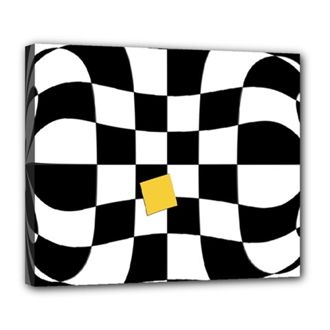 Dropout Yellow Black And White Distorted Check Deluxe Canvas 24  X 20