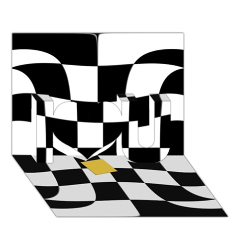 Dropout Yellow Black And White Distorted Check I Love You 3D Greeting Card (7x5)