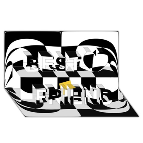 Dropout Yellow Black And White Distorted Check Best Friends 3D Greeting Card (8x4)