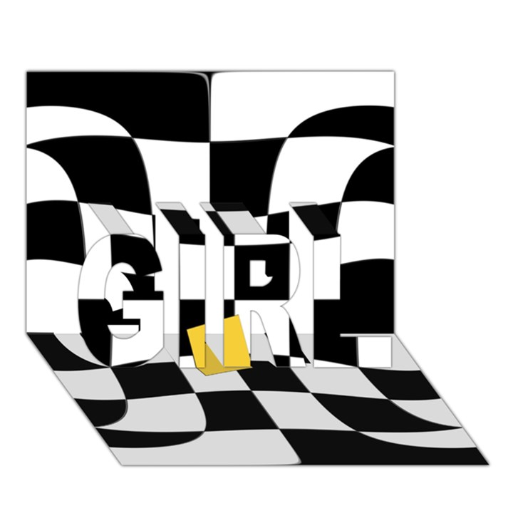 Dropout Yellow Black And White Distorted Check GIRL 3D Greeting Card (7x5)