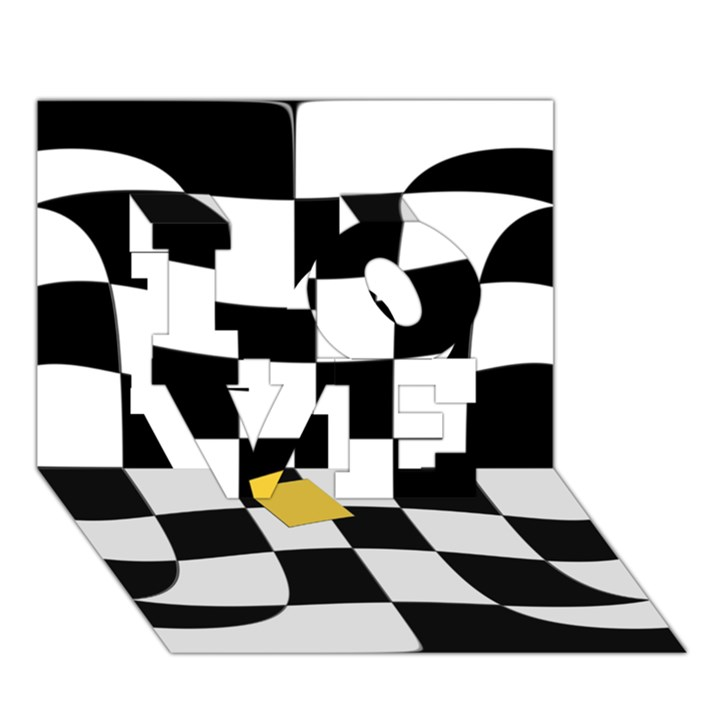 Dropout Yellow Black And White Distorted Check LOVE 3D Greeting Card (7x5)