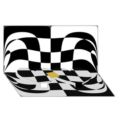 Dropout Yellow Black And White Distorted Check Twin Heart Bottom 3D Greeting Card (8x4)