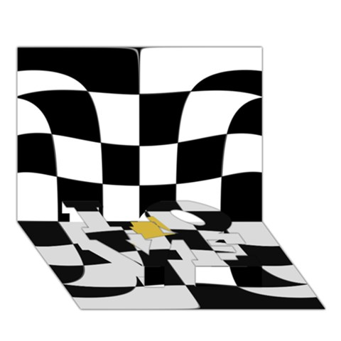 Dropout Yellow Black And White Distorted Check LOVE Bottom 3D Greeting Card (7x5)