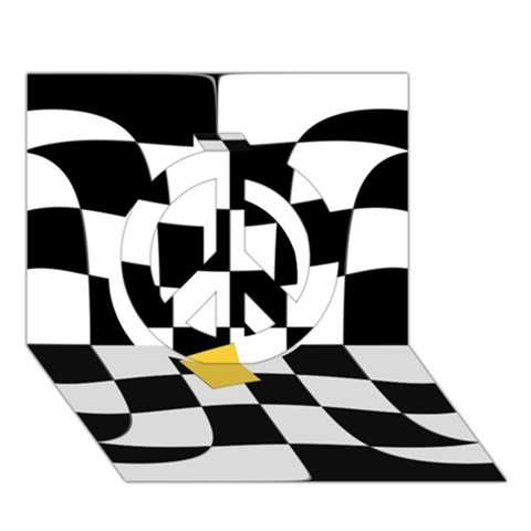 Dropout Yellow Black And White Distorted Check Peace Sign 3D Greeting Card (7x5)