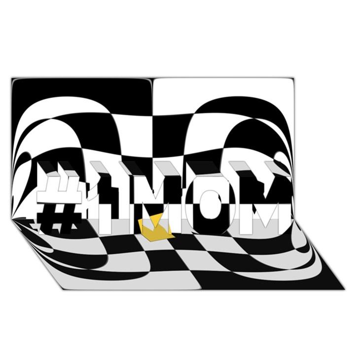 Dropout Yellow Black And White Distorted Check #1 MOM 3D Greeting Cards (8x4)