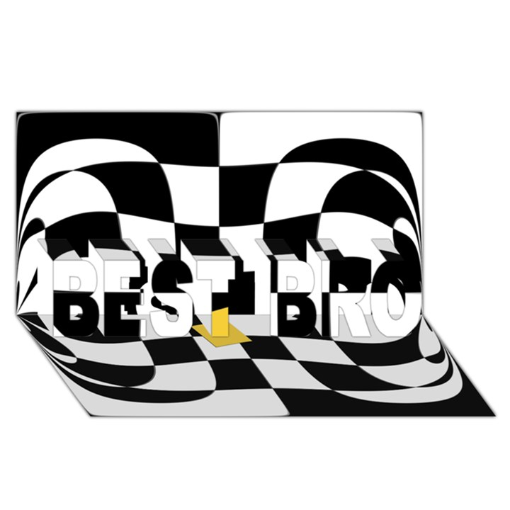 Dropout Yellow Black And White Distorted Check BEST BRO 3D Greeting Card (8x4)