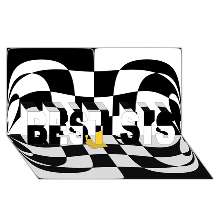 Dropout Yellow Black And White Distorted Check BEST SIS 3D Greeting Card (8x4)
