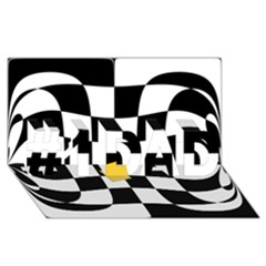 Dropout Yellow Black And White Distorted Check #1 DAD 3D Greeting Card (8x4)