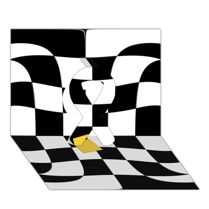 Dropout Yellow Black And White Distorted Check Ribbon 3D Greeting Card (7x5)