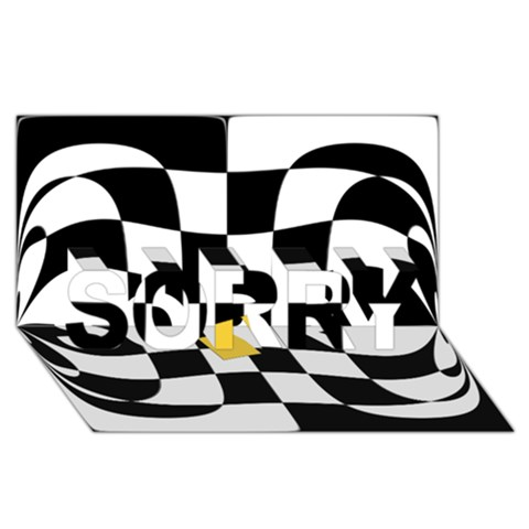 Dropout Yellow Black And White Distorted Check SORRY 3D Greeting Card (8x4)