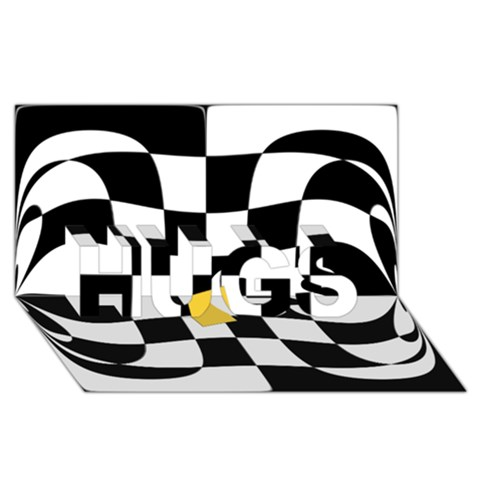 Dropout Yellow Black And White Distorted Check HUGS 3D Greeting Card (8x4)