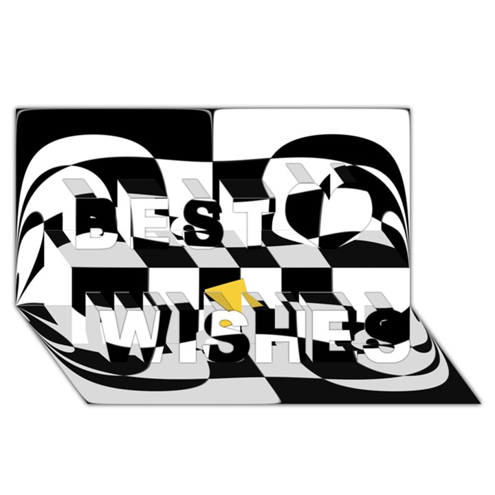 Dropout Yellow Black And White Distorted Check Best Wish 3D Greeting Card (8x4)