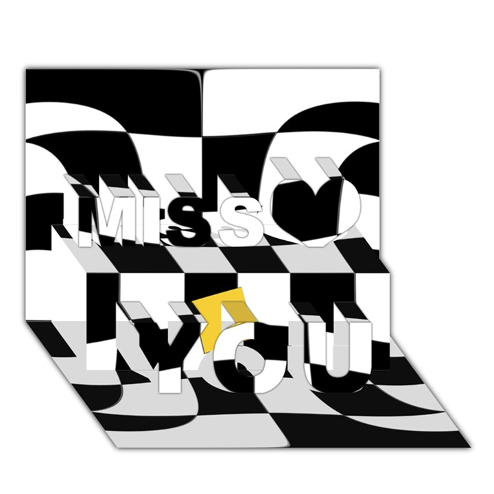 Dropout Yellow Black And White Distorted Check Miss You 3D Greeting Card (7x5)