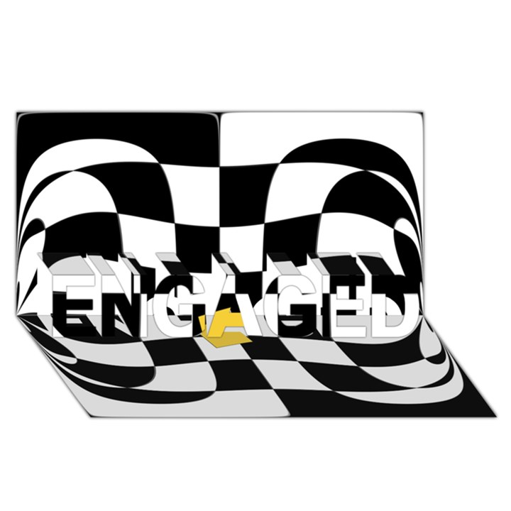 Dropout Yellow Black And White Distorted Check ENGAGED 3D Greeting Card (8x4)