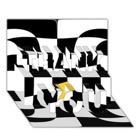 Dropout Yellow Black And White Distorted Check THANK YOU 3D Greeting Card (7x5)