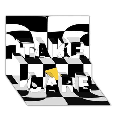 Dropout Yellow Black And White Distorted Check TAKE CARE 3D Greeting Card (7x5)