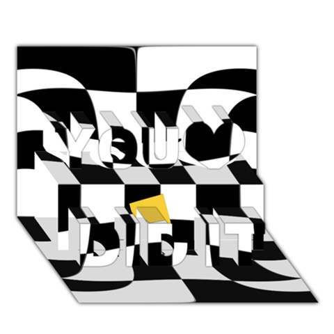 Dropout Yellow Black And White Distorted Check You Did It 3D Greeting Card (7x5)