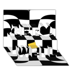 Dropout Yellow Black And White Distorted Check Get Well 3D Greeting Card (7x5)