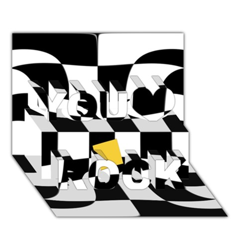 Dropout Yellow Black And White Distorted Check You Rock 3D Greeting Card (7x5)