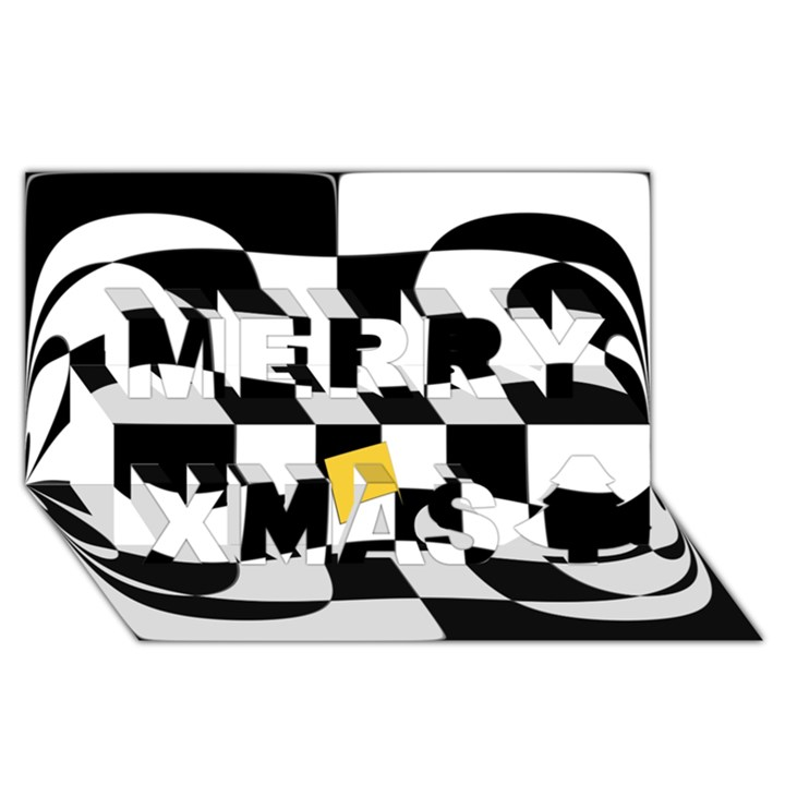 Dropout Yellow Black And White Distorted Check Merry Xmas 3D Greeting Card (8x4)