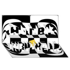 Dropout Yellow Black And White Distorted Check Happy New Year 3D Greeting Card (8x4)