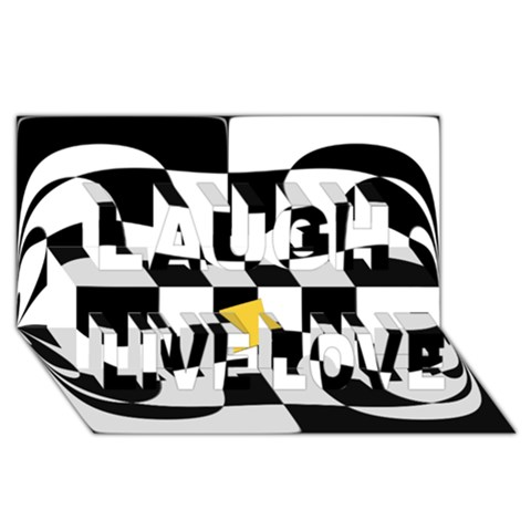 Dropout Yellow Black And White Distorted Check Laugh Live Love 3D Greeting Card (8x4)