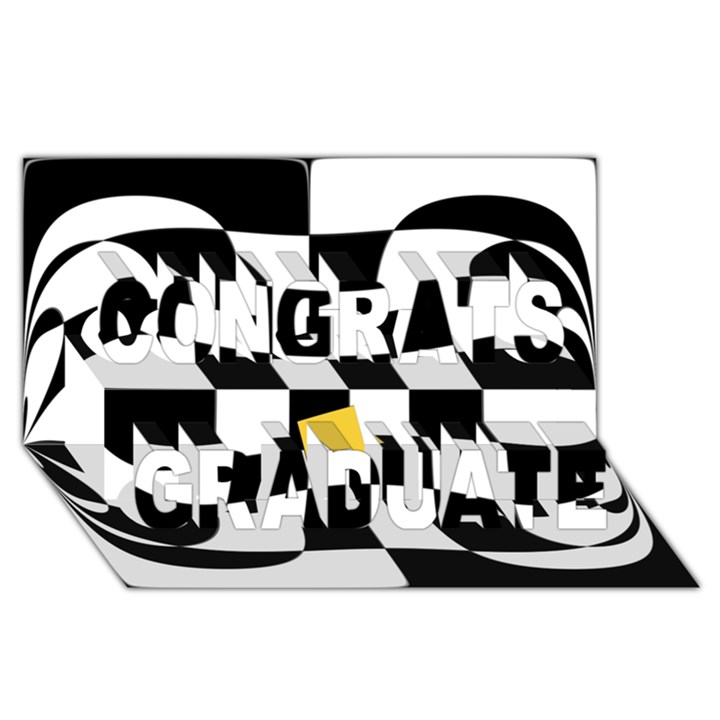 Dropout Yellow Black And White Distorted Check Congrats Graduate 3D Greeting Card (8x4)